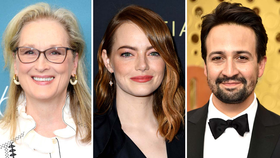 Meryl Streep, Emma Stone and Lin-Manuel Miranda - Getty - Split - H 2019