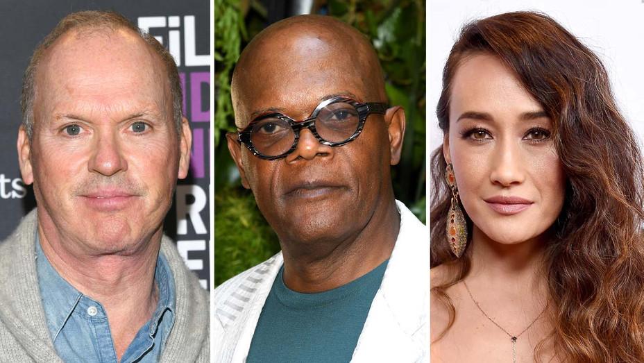 Michael Keaton, Samuel L. Jackson and Maggie Q - Getty - Split -H 2019