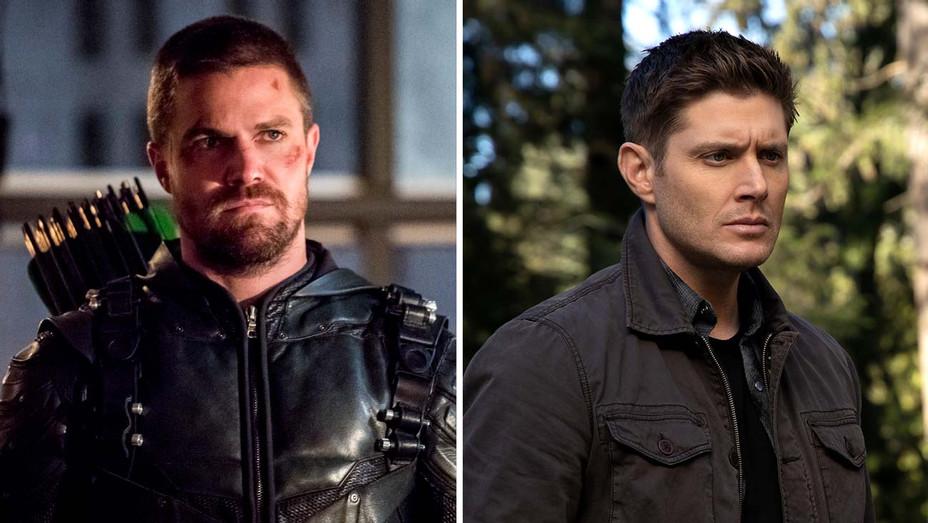"""Stephen Amell on """"Arrow"""" and Jensen Ackles on """"Supernatural"""" - Publicity Stills _ split - H 2019"""