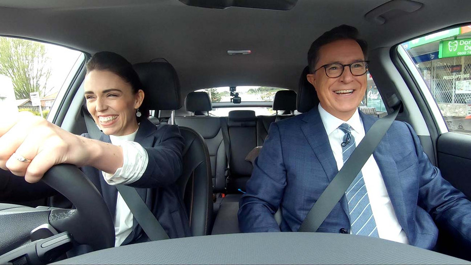 Stephen Colbert and Jacinda Ardern on The Late Show - Publicity Still -H 2019