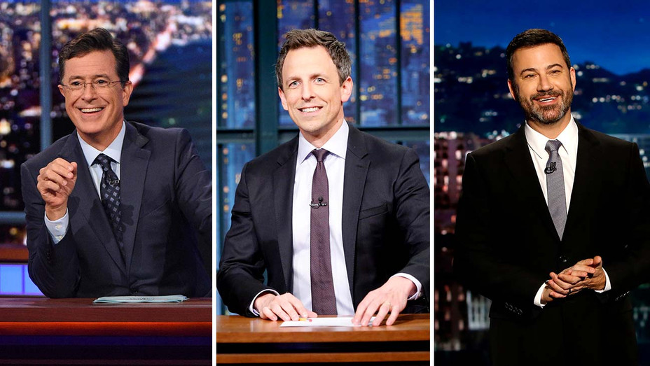 Stephen Colbert on The Late Show CBS, Seth Meyers on Late Night NBC and Jimmy Kimmel on Jimmy Kimmel Live - Publicity stills - Split - H 2019