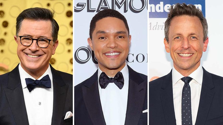 Stephen Colbert, Trevor Noah and Seth Meyers_Split - Getty - H 2019