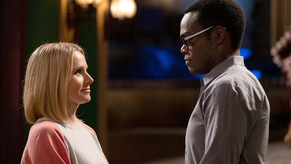 """THE GOOD PLACE -- """"The Answer"""" Episode 409 - Kristen Bell - William Jackson  Harper - Publicity-H 2019"""