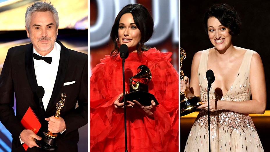 Alfonso Cuaron onstage at the Oscars, Kacey Musgraves onstage at the Grammys and Phoebe Waller-Bridge onstage at the Emmys - Getty - Split - H 2019