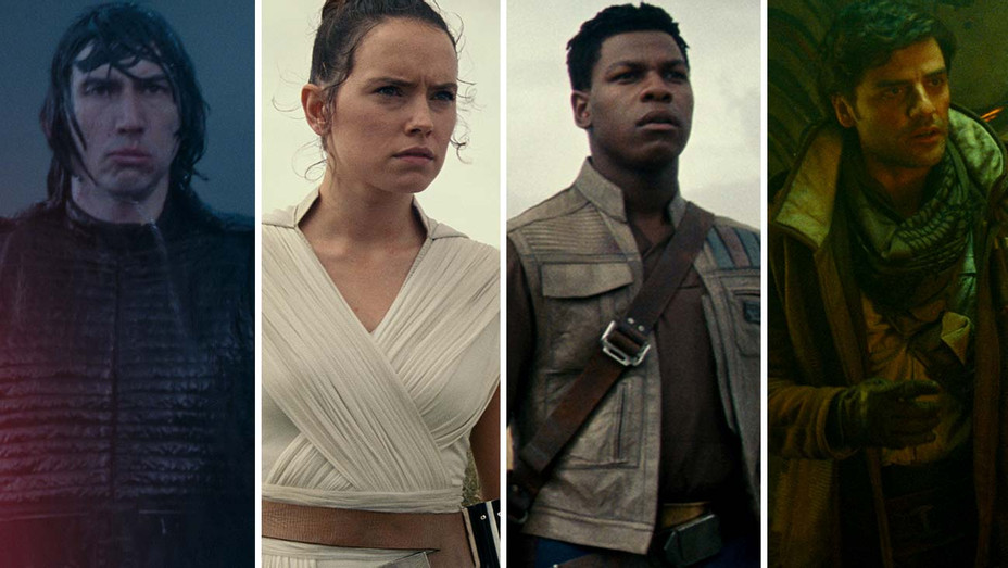 Adam Driver as Kylo Ren, Daisy Ridley as Rey, John Boyega as Finn and Oscar Isaac as Poe Dameron - Publicity stills - Split - H 2019