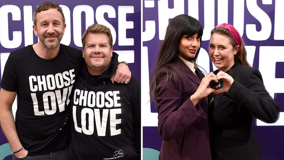 Chris O'Dowd and James Corden and Jameela Jamil and Josie Naughton attend Choose Love Launches In Los Angeles Split -H 2019