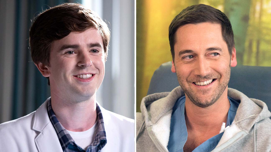 Freddie Highmore in The Good Doctor (ABC) and Ryan Eggold in New Amsterdam (NBC) - Publicity - Split - H 2019