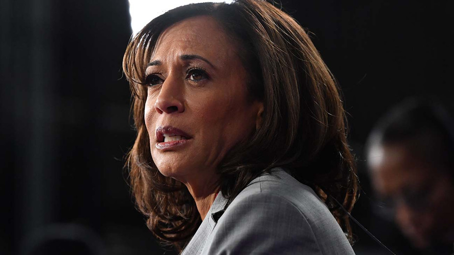 Kamala Harris speaks to the press in the Spin Room -Getty-H 2019