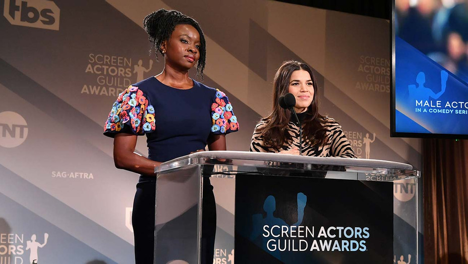 Danai Gurira and America Ferrera speak onstage during the 26th Annual Screen Actors Guild Awards Nominations Announcement - Getty-H 2019