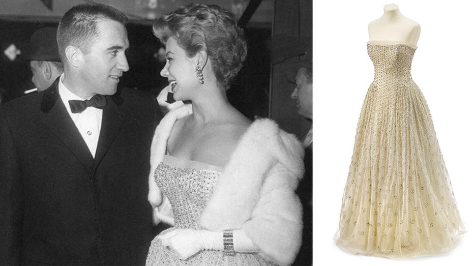 Mitzi Gaynor Dior gown and a shot of her wearing it at the South Pacific premiere - Publicity-H 2019