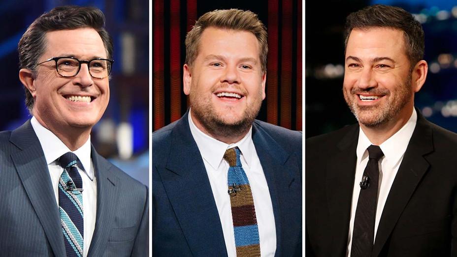 Stephen Colbert on The Late Show CBS, James Corden on The Late Late Show CBS and Jimmy Kimmel on Jimmy Kimmel Live ABC- Split-H 2019