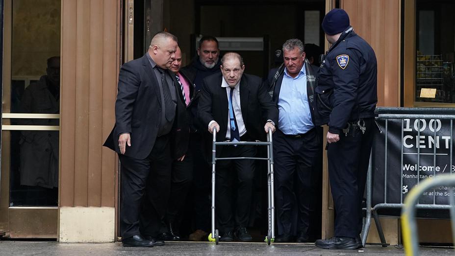 Harvey Weinstein using walker leaving court Dec. 11 - H Getty 2019