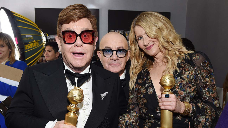 Elton John, Bernie Taupin, and Laura Dern