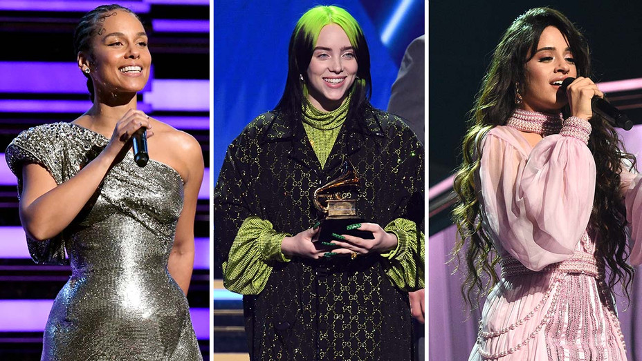 Alicia Keys Billie Eilish Camila Cabello Grammy Awards Split - Getty - H 2020