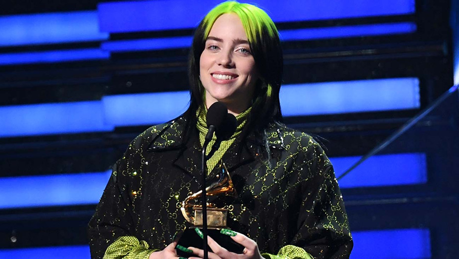 "Billie Eilish accepts the award for Song Of The Year for ""Bad Guy""  - Grammys 2020 - Getty - H 2020"