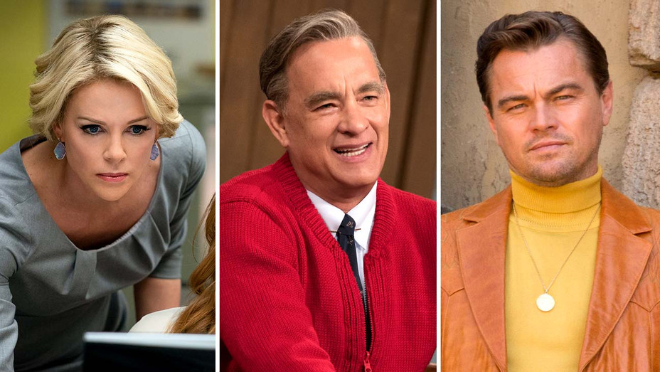 Charlize in Bombshell, Hanks in ABDITNeighborhood, Leo in Once Upon a Time - Publicity Stills - Split - H 2020