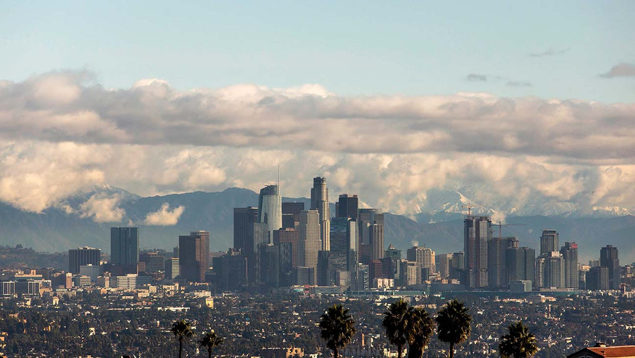 Los Angeles skyline with the snow-covered San Gabriel Mountains 2019- Getty -H 2020
