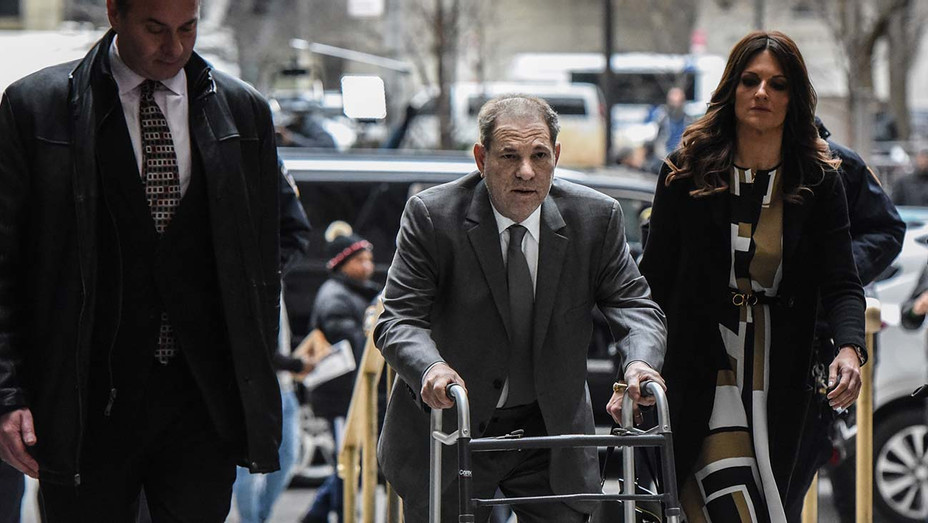 Harvey Weinstein arrives at New York City criminal court for his sex crimes trial on January 7, 2020 - Getty- h 2020