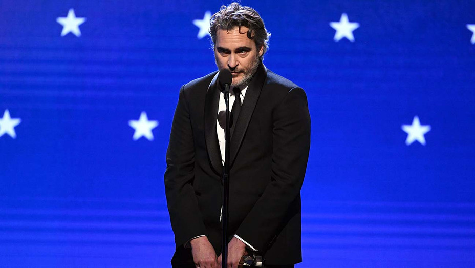Joaquin Phoenix accepts the Best Actor award for 'Joker' onstage during the 25th Annual Critics' Choice Awards - H 2020