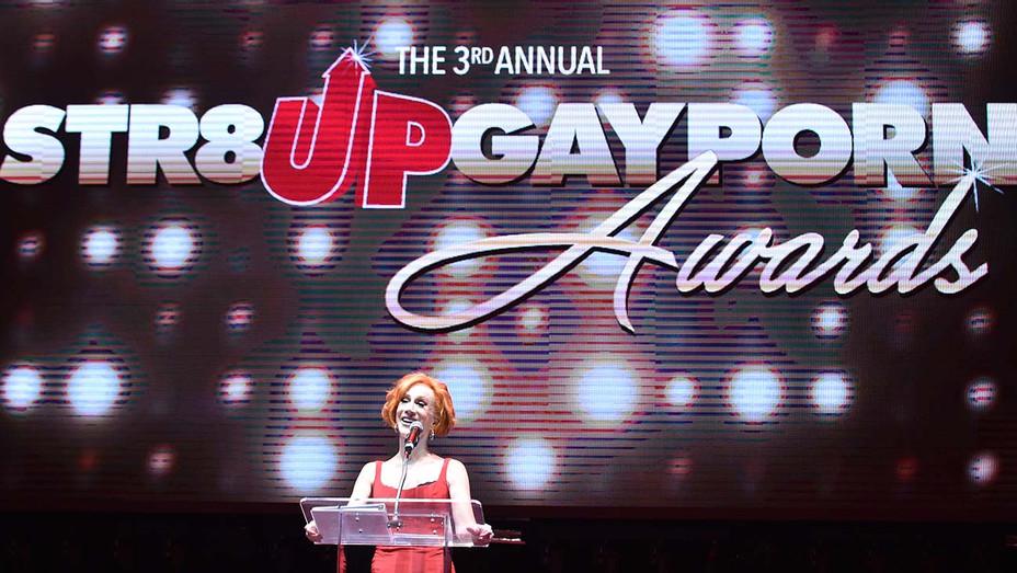 Kathy Griffin speaks onstage at Gay Porn's Biggest Night - Str8UpGayPorn Awards - Getty-H 2020