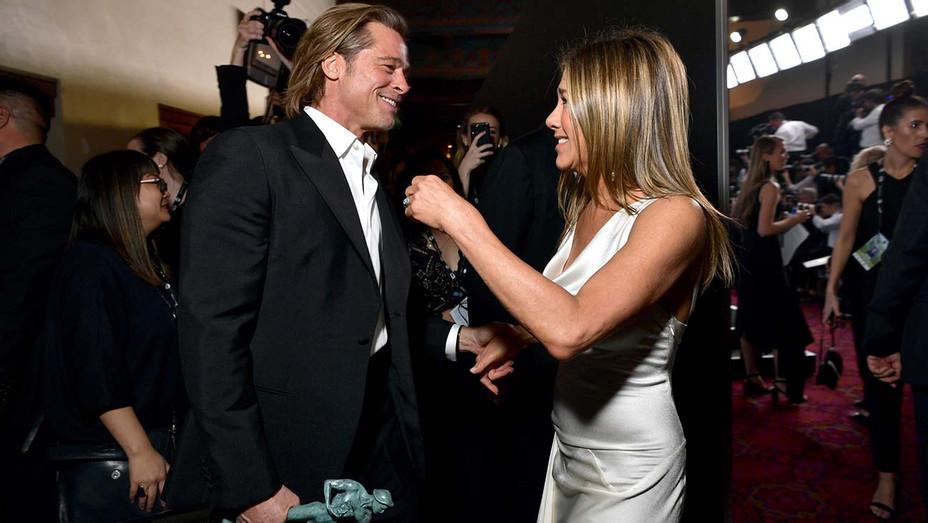 Jennifer Aniston Brad Pitt Backstage SAG Awards 2 - Getty - H 2020