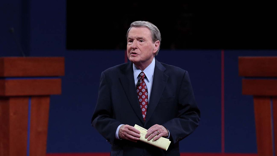 Jim Lehrer speaks prior to the Presidential Debate at the University of Denver on October 3, 2012  - Getty -H 2020