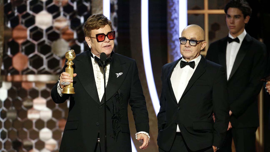 """Golden Globes 2020 - Elton John and Bernie Taupin accept the award for Best Original Song - Motion Picture for """"I'm Gonna Love Me Again"""" from """"Rocketman""""- Publicity - H 2020"""