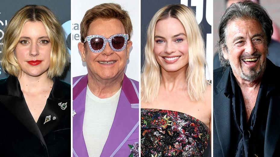 Greta Gerwig, Elton John, Margot Robbie and Al Pacino - Getty - Split - H 2020