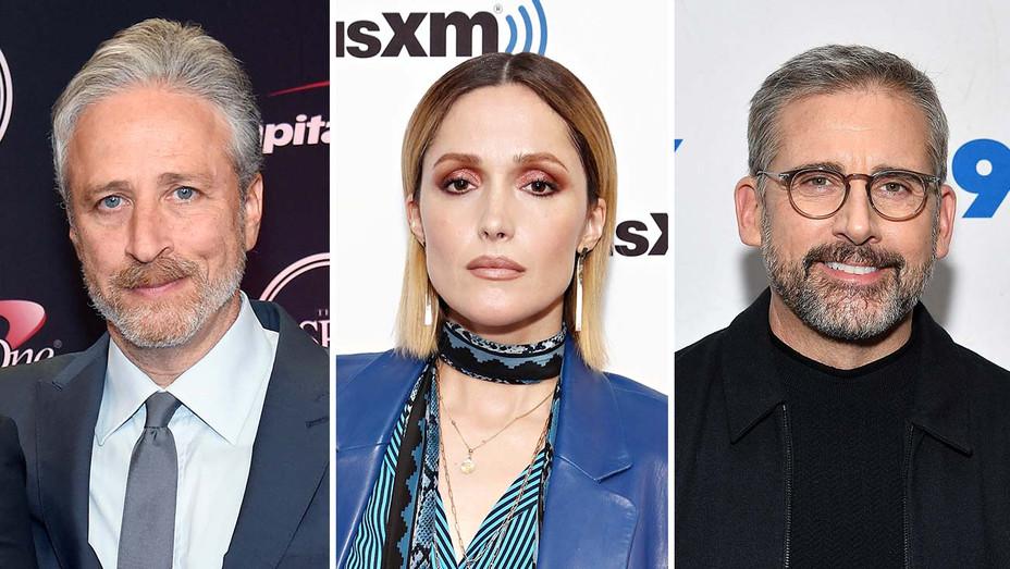 Jon Stewart, Rose Byrne and Steve Carell_Split - Getty - H 2020