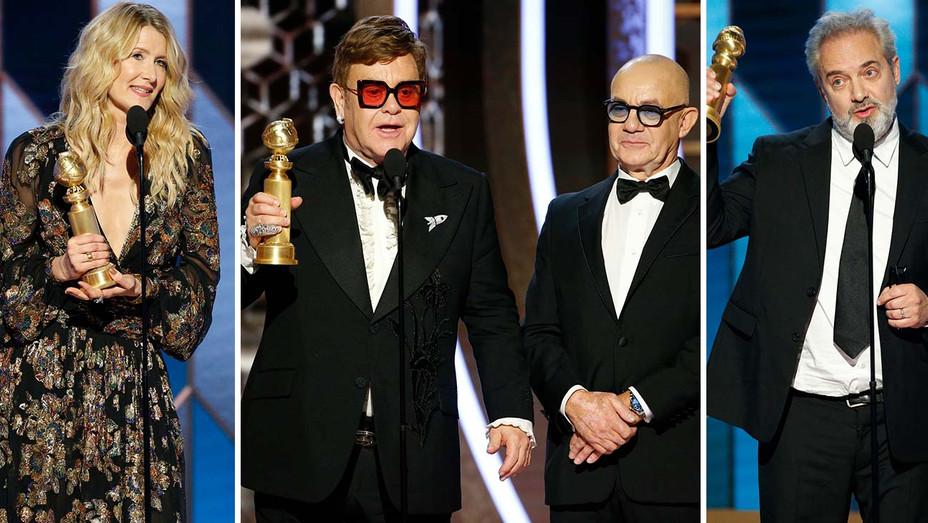 Laura Dern, Sam Mendes and Elton John and Bernie Taupin winning -NBC Publicity - Split-H 2019