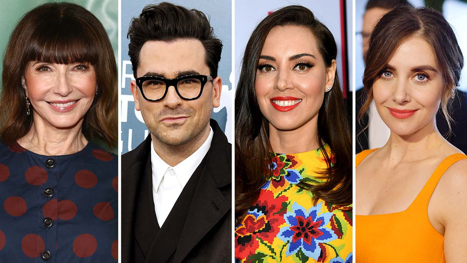 Mary Steenburgen, Dan Levy, Aubrey Plaza and Alison Brie - Split-Getty-H 2020