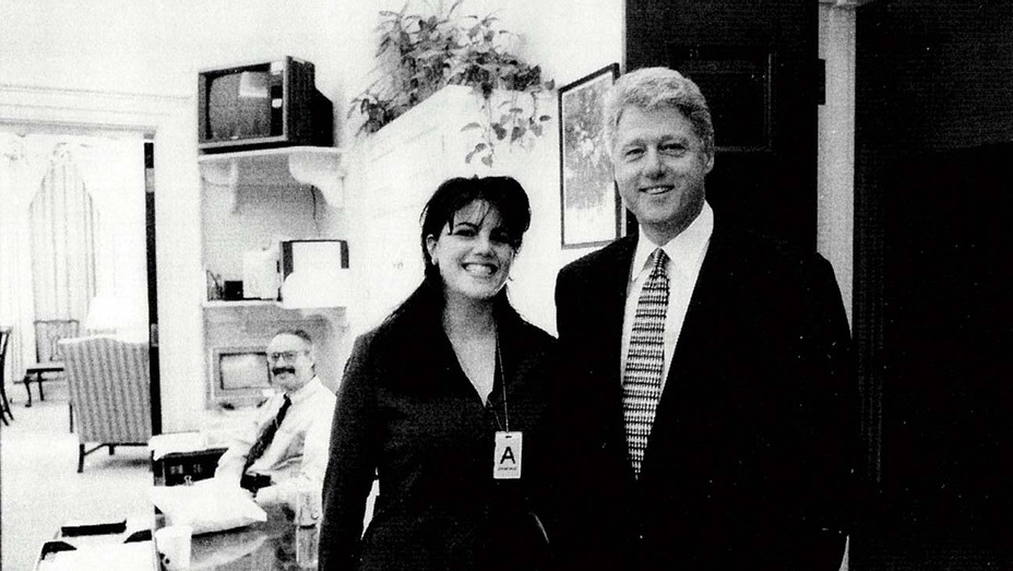 ONE TIME USE ONLY -Monica Lewinsky meeting President Bill Clinton at a White House function - Getty - H 2020