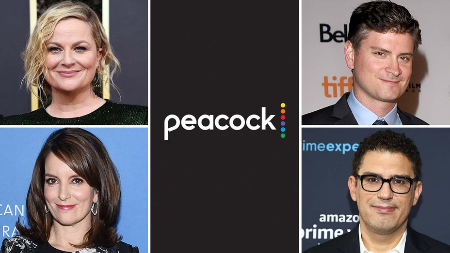 Peacock Split -Amy Poehler and Tina Fey -Mike Schur -Sam Esmail - Getty-H 2020