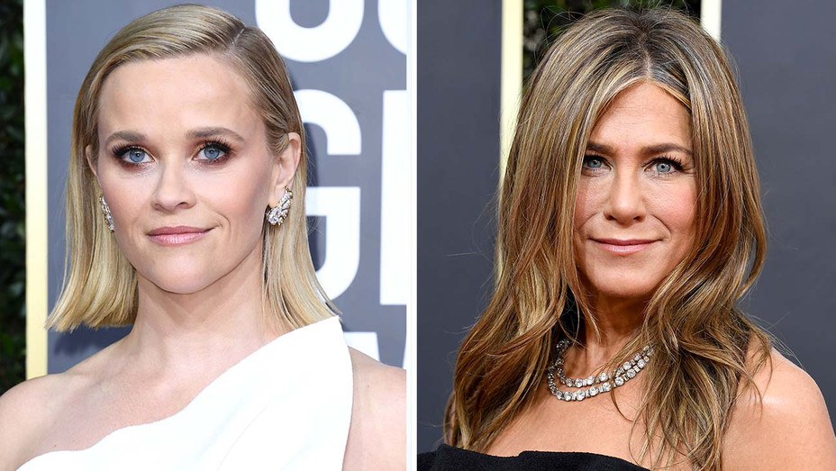 Reese Witherspoon - Jennifer Aniston - Golden Globes - Getty - Split - H 2020