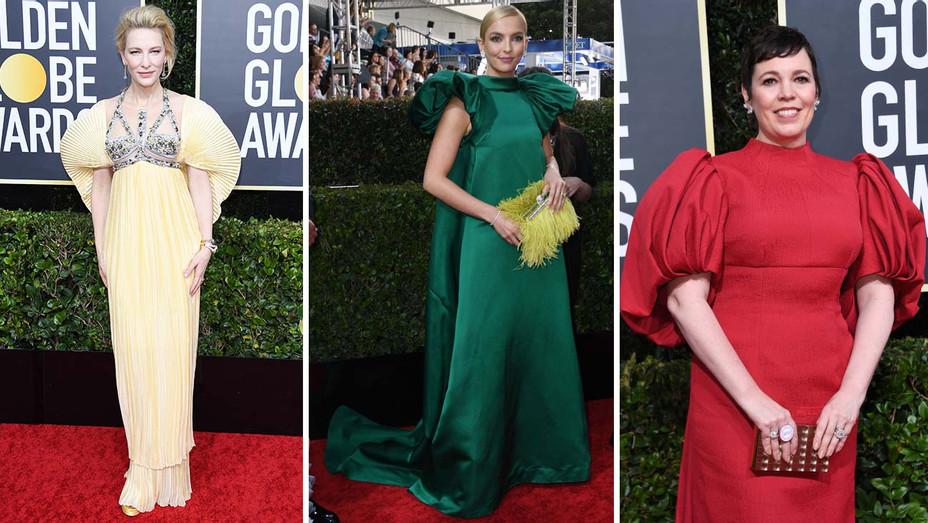Golden Globes Red Carpet Sleeves Trend Second Split - Getty -  H 2020