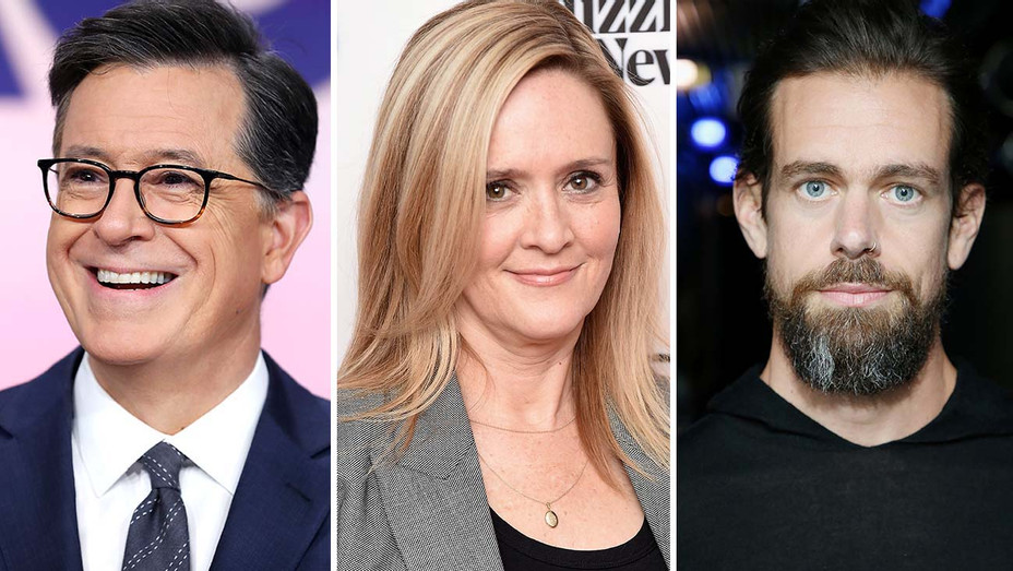 Stephen Colbert, Samantha Bee and Jack Dorsey - Getty-Split-H 2020