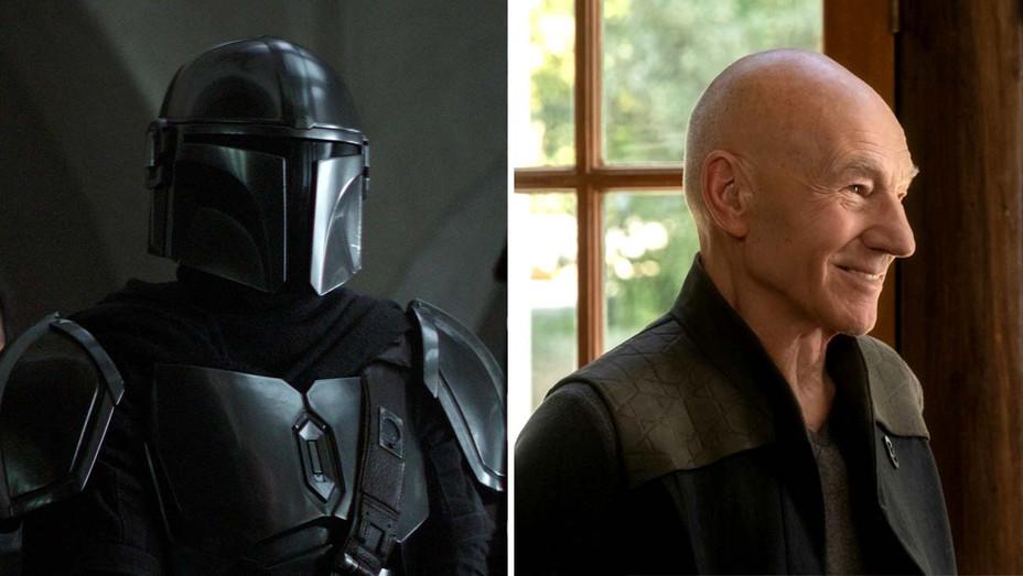 The Mandalorian (Disney+) and Patrick Stewart in Star Trek: Picard - Publicity Stills - Split - H 2020