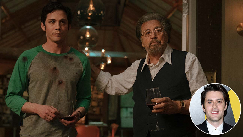 "Al Pacino and Logan Lerman in Amazon's ""Hunters"" with an inset of showrunner David Weil -H 2020"