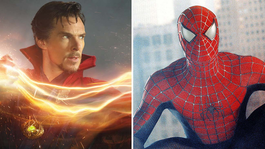 Doctor Strange 2016 Benedict Cumberbatch, and a still of Spider-Man 2002 - Split-Photofest-H 2020