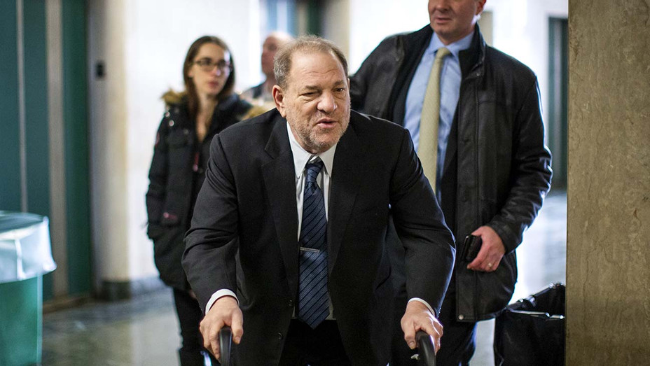 Film producer Harvey Weinstein arrives at the courtroom for his sexual assault trial at Manhattan criminal court on February 3, 2020 - Getty - H 2020