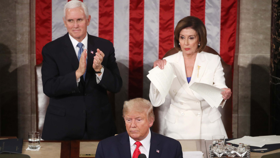 Nancy Pelosi Ripping Up Trump's Speech After SOTU - H Getty 2020