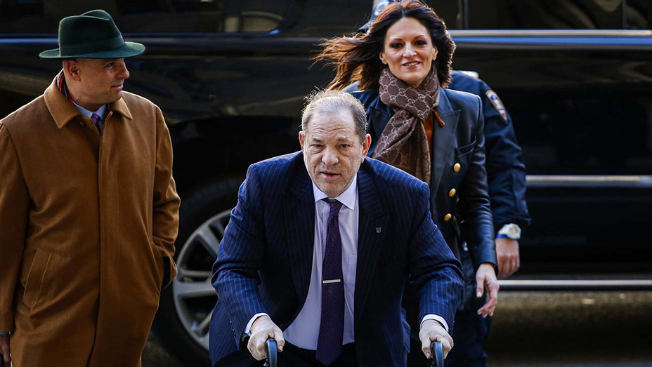 Harvey Weinstein arrives to with lawyer Donna Rotunno (R) court on February 19, 2020 - Getty - H 2020