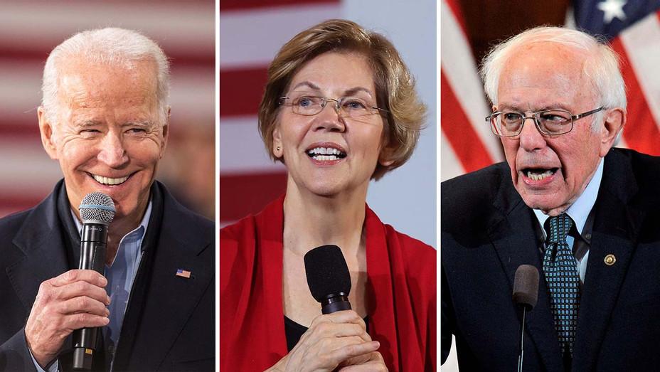 Joe Biden, Elizabeth Warren and Bernie Sanders_Split - Getty - H 2020