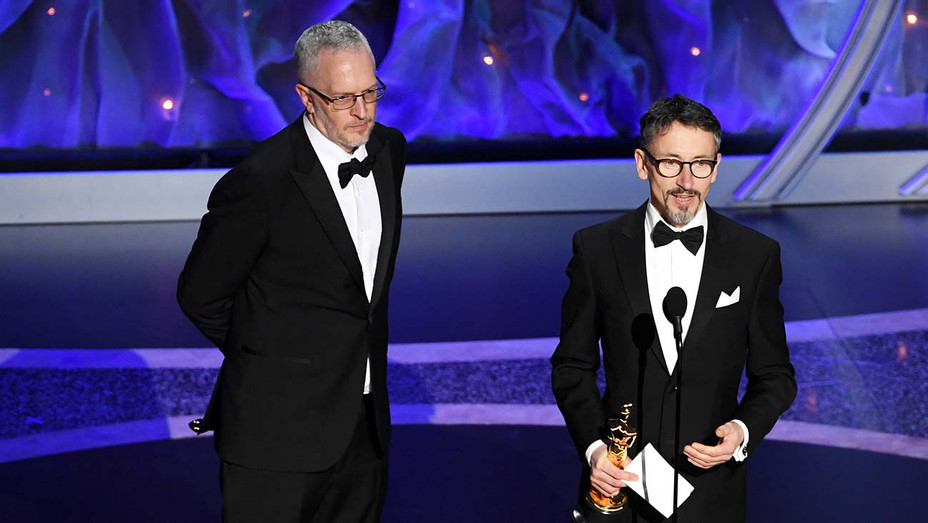 Mark Taylor and Stuart Wilson accept the Best Sound Mixing award for '1917' onstage during the 92nd Annual Academy Awards  - Getty - H 2020