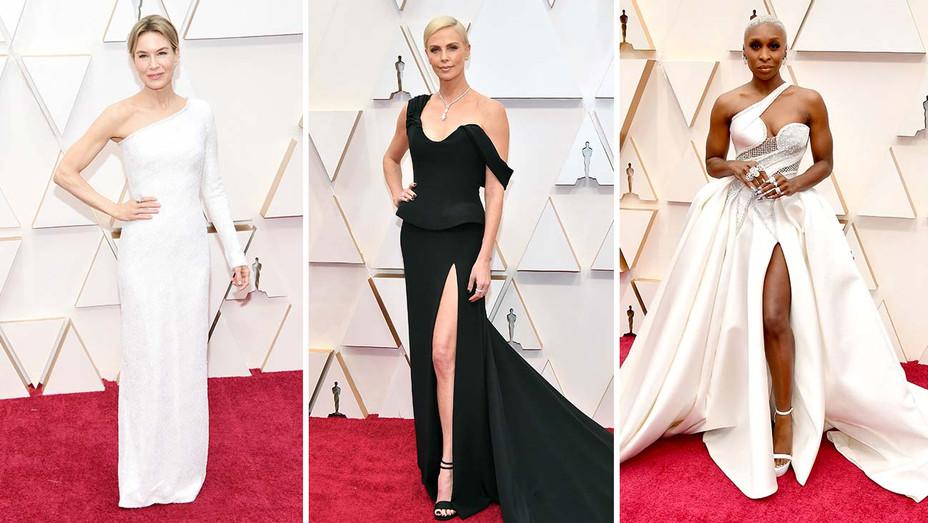 Renee Zellweger, Charlize Theron, and Cynthia Erivo - Oscars 2020 - Getty - Split - H 2020