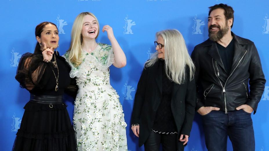 Salma Hayek, Elle Fanning, Sally Potter, Javier Bardem at the 2020 Berlin International Film Festival for 'The Roads not Taken'