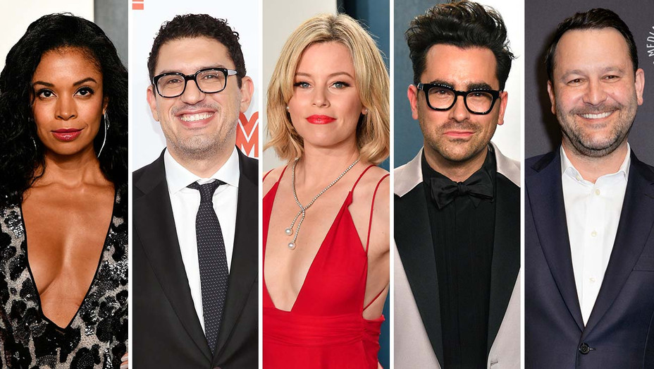 Susan Kelechi Watson, Sam Esmail, Elizabeth Banks, Dan Levy and Dan Fogelman_Split - Getty - H 2020