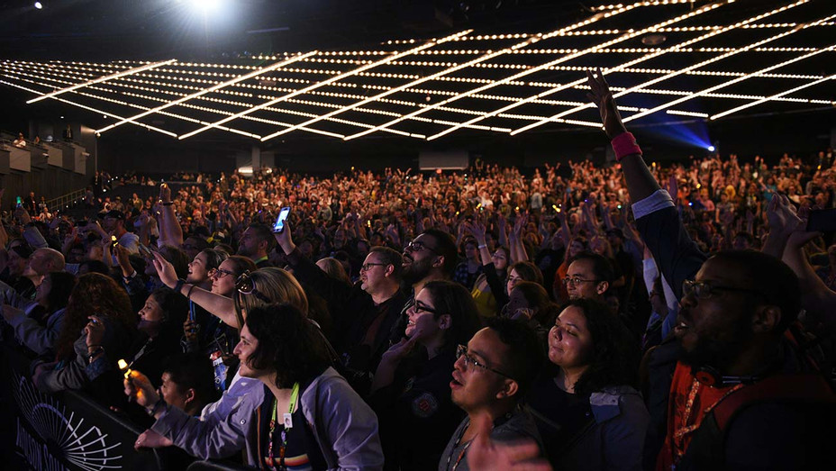 A view of the audience at the DOCTOR WHO panel during New York Comic Con in The Hulu Theater at Madison Square Garden - Getty - H 2020