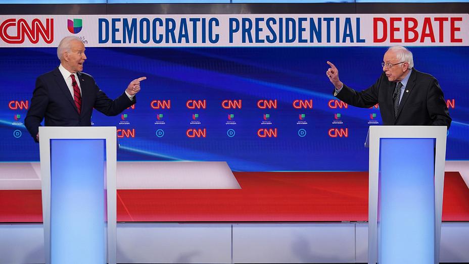 Joe Biden - Bernie Sanders - Pointing Fingers - Debate - H Getty 2020