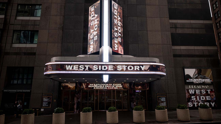 The Broadway Theater advertises West Side Story on February 7, 2020 in New York City - H 2020